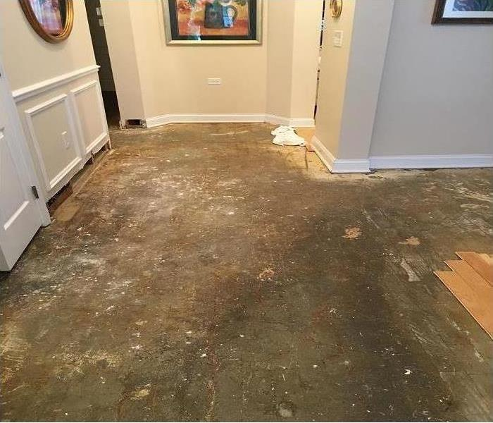 exposed subfloor after removal of water damaged floor planks, also trim removed