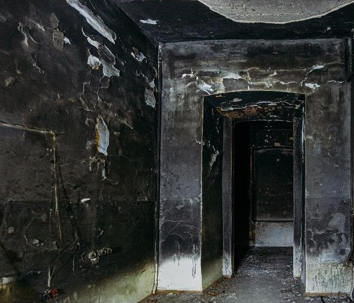 Burnt mansion interior after fire