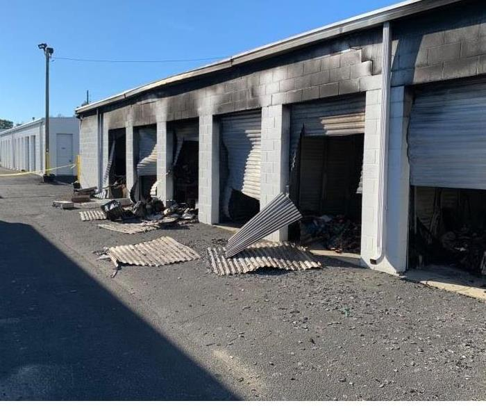storage units affected from soot after a fire, debris